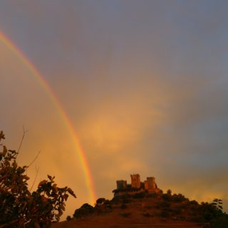 castle and rainbow